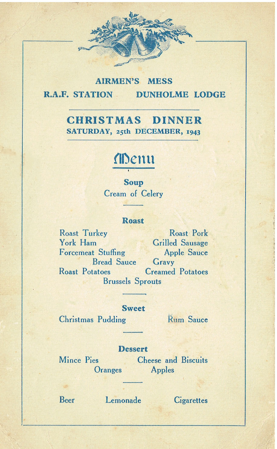 Christmas 1943 Airmen S Mess Dinner Menu And 44 Squadron